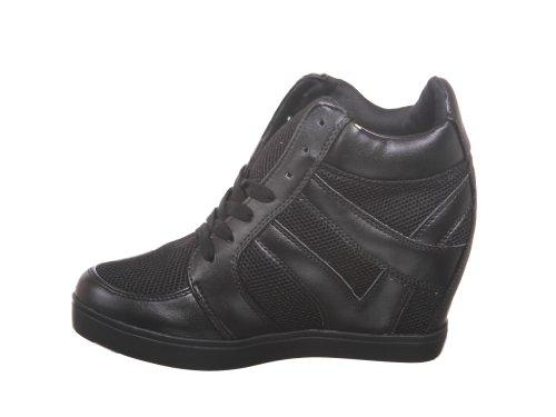 shoewhatever Frauen PL Hi-Top Wedge Schnür Mode Turnschuhe F_black