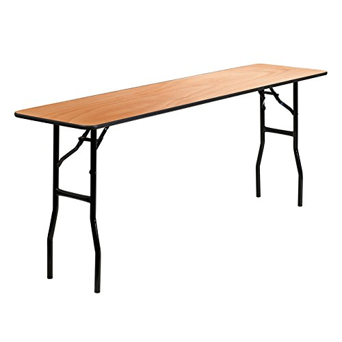 Flash Furniture 18'' x 72'' Rectangular Wood Folding Training / Seminar Table with Smooth Clear Coated Finished Top [YT-WTFT18X72-TBL-GG] by Flash Furniture