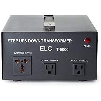 ELC T-5000 5000-Watt Voltage Converter Transformer - Step Up/Down - 110V/220V - Circuit Breaker Protection
