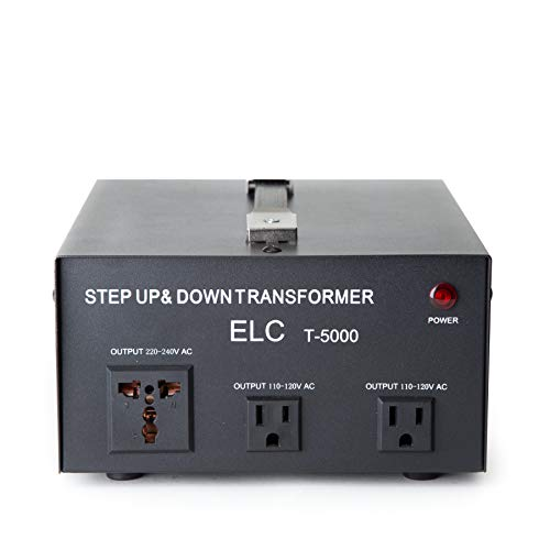 ELC T-5000 5000-Watt Voltage Converter Transformer - Step Up/Down - 110V/220V - Circuit Breaker Protection (Down Voltage Converter)