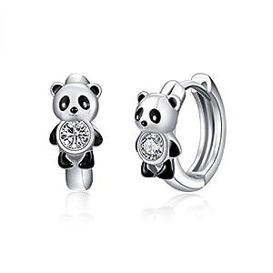 Panda/Bee Earrings for Women Sterling Silver 14k Gold/White Plated Small Hoop Hypoallergenic Cartilage Earrings
