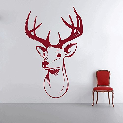 DreamKraft Deer Head Wall Decor Art Stickers Vinyl Decals Home Decor for Living Room & Kids Bedroom (29X47 inch)