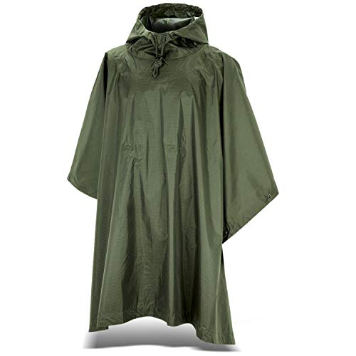 Black Snake Outdoor Regenponcho | Ripstop Regencape mit Kapuze | Regen Poncho inkl. Tasche | Regenjacke für Damen und…