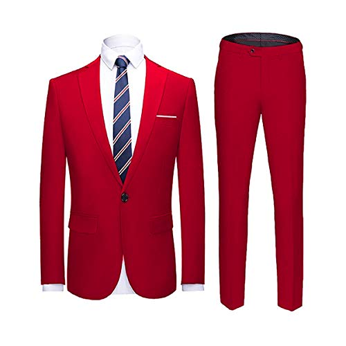 - YIMANIE Men's Suit Slim Fit One Button 2 Piece Suit Tuxedo Business Wedding Party Casual