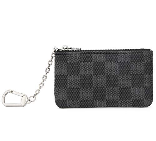 Miracle Checkered Zip Key Chain Pouch | Mini Coin Purse Wallet Card Holder with Clasp | PU Vegan Leather for Men Women (Black)