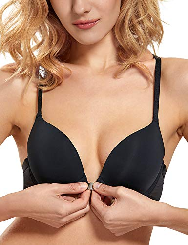 DOBREVA Women's Front Closure T-Shirt Push Up Adds 1 Cup Size Underwired Bra Black_Smooth 34C