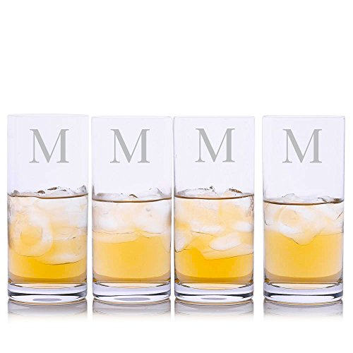 Personalized Crystalize Crystal Highball Cocktail Glass w/Titanium 4pc. Set by Crystalize Engraved & Monogrammed - Great Gift for Father's Day, Weddings and Groomsmen