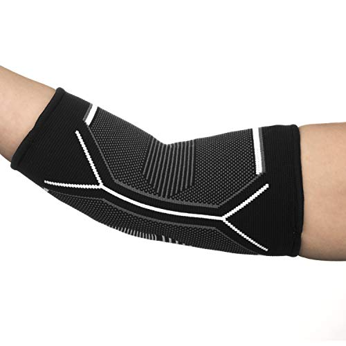 Kunto Fitness Elbow Brace Compression Support Sleeve for Tendonitis, Tennis Elbow, Golf Elbow Treatment - Reduce Joint Pain During Any Activity! (Large, White-Gray) by Kunto Fitness Products (Image #3)