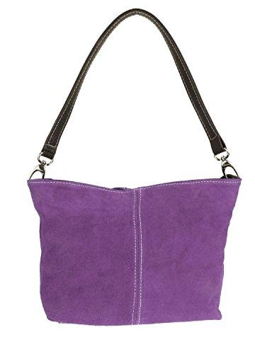 Craze London Womens New Genuine Suede Leather Handbag Shoulder Bag Tote Light Purple