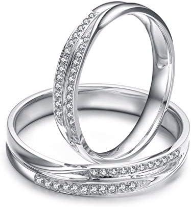 KnSam 18 Karat (750) Weißgold Ringe Hohl Gedrehte Linien Eingelegter Diamant 0,19 Ct Bandring Gold Herren EIN Paar Ringe Paarpreis Ringe Set Silber