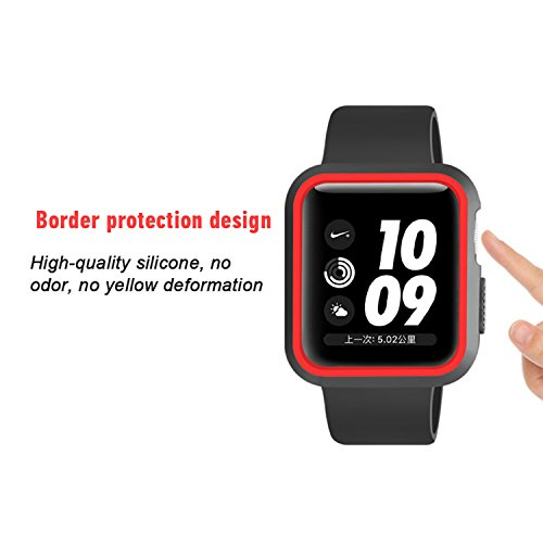 Morenitor for Apple Watch Case, 42mm Double Color Soft Silicone TPU Bumper Plating Protective Cover Case for Apple Watch iWatch Series 2 3 (Black and Red - 42 mm) by Morenitor (Image #4)