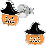 Hypoallergenic Sterling Silver Cute Jack-O'-Lantern Pumpkin Stud Earrings for Kids (Nickel Free)