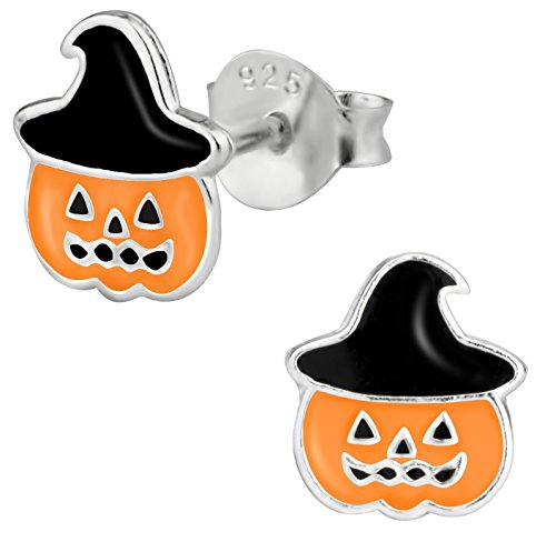 - Hypoallergenic Sterling Silver Cute Jack-O'-Lantern Pumpkin Stud Earrings for Kids (Nickel Free)