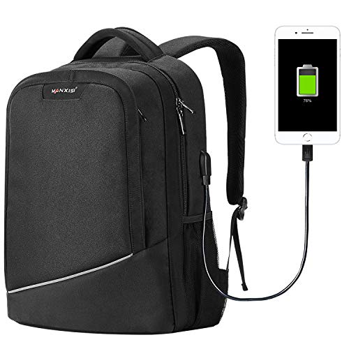 15.6 Laptop Backpack Business Travel Waterproof Slim Backpack with USB Charging College School Computer Bag for Men and Women (Black)