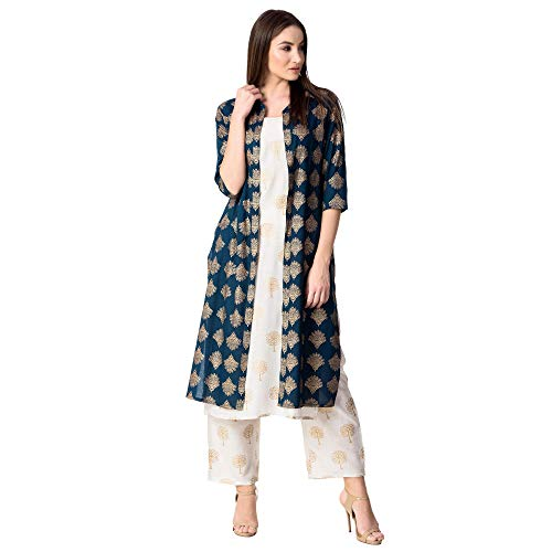 KHUSHAL Women's Rayon Printed Jacket Kurta with Palazzo Pant Set Blue