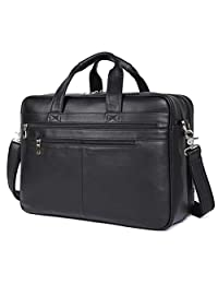 """Polare Real Soft Nappa Leather 17"""" Laptop Case Professional Briefcase Business Bag for Men (Black)"""