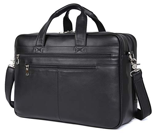 Real Black Soft Nappa Leather Business Bag