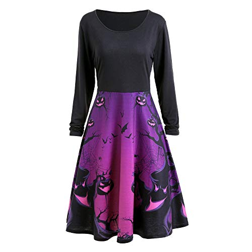 FEDULK Womens Halloween Dress Pumpkin Ghost Print Long Sleeve Smock Retro Swing Funny Party Dresses(Black, X-Large)