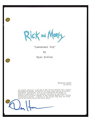 """Dan Harmon Signed Autographed Rick and Morty""""Lawnmower Dog"""" Episode Script COA from Unknown"""
