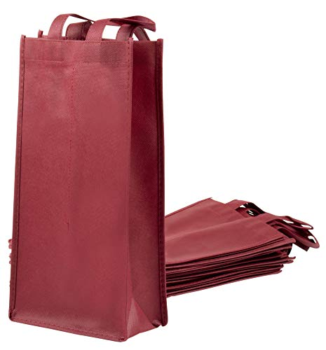 Wine Tote Bags - 10-Pack Non-Woven Double Bottle Wine Totes, Reusable Wine Carrying Bags, Ideal Bottle Gift Bags for Wedding, Birthday, Housewarming, Dinner Parties, Wine Accessories, Burgundy ()