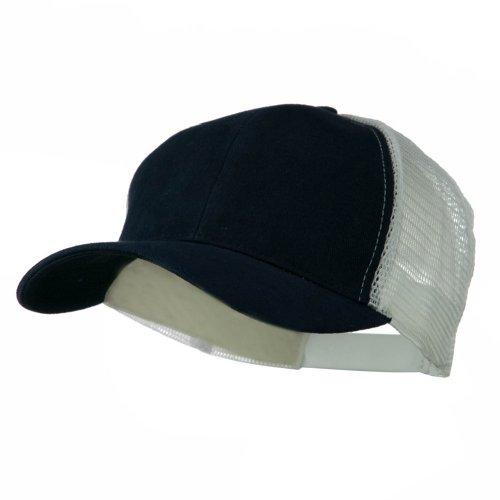 Cotton Brush Mesh Trucker Cap - Navy White (White Brush Cotton Hat)