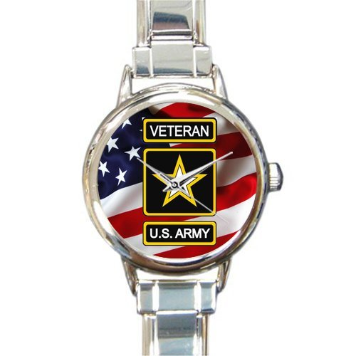 (Special Design Military US Army Veteran and American Flag Round Italian Charm Watch)