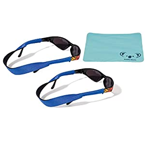Croakies Kids Neoprene Eyewear Retainer Childrens Glasses Strap | Eyeglass and Sunglass Holder | Boys and Girls Sports Use | 2pk Bundle + Cloth, Blue