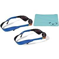 Croakies Kids Neoprene Eyewear Retainer Childrens Glasses Strap | Eyeglass and Sunglass Holder | Boys and Girls Sports Use | 2pk Bundle + Cloth