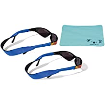Croakies Kids Neoprene Eyewear Retainer Childrens Glasses Strap | Eyeglass and Sunglass Holder | Boys and Girls Sports Use | 2pk Bundle + Cloth