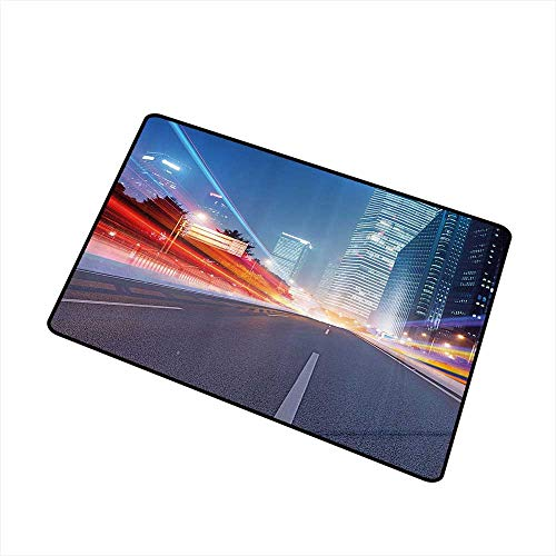Stylish Commercial Grade Entry pad Urban Asphalt Road and Modern Cityscape Illuminated Metropolis Nightlife Buildings Dusk W24 xL35 Country Home Decor Multicolor