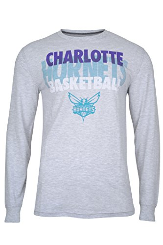 fan products of NBA Men's Charlotte Hornets T-Shirt Supreme Long Sleeve Pullover Tee Shirt, Large, Gray