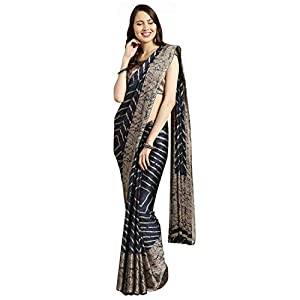 Womanista Women's crepe with Blouse Piece 7510 Sarees (TKIM778_ Blue & Beige_ Free Size)