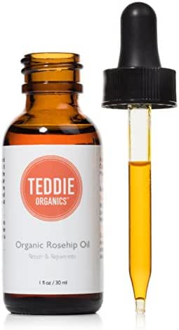 Teddie Organics Rosehip Seed Oil for Face, Hair and Skin 1oz, Pure Rose Hip Oil works as carrier and facial oil