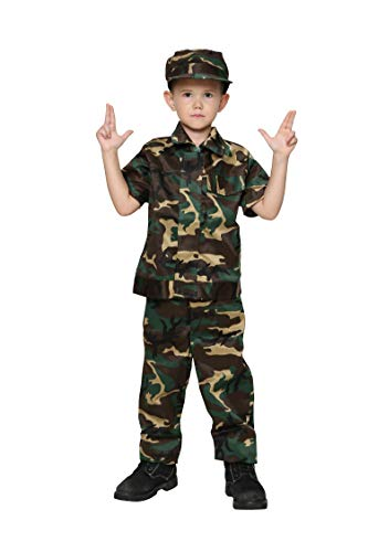 Jason Party Boys Soldier Costumes Army Costumes Boys Camo Costumes for Kids Army Military Costumes (shortwoodland-4-6, Short -
