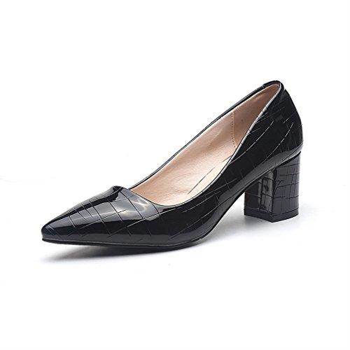 Xianshu brevet pointu escarpins Noir sexy talon chaussures cuir Women's rPEqP