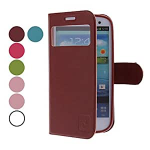 MOVSOINA PU Leather Case with Rose Magnetic Snap for Samsung Galaxy S3 I9300 (Assorted Colors) --- COLOR:Blue