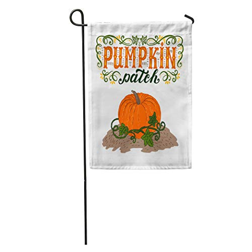 Semtomn Garden Flag Text Pumpkin Patch Halloween Hand Lettering and Sign Vintage Farm Home Yard House Decor Barnner Outdoor Stand 12x18 Inches -