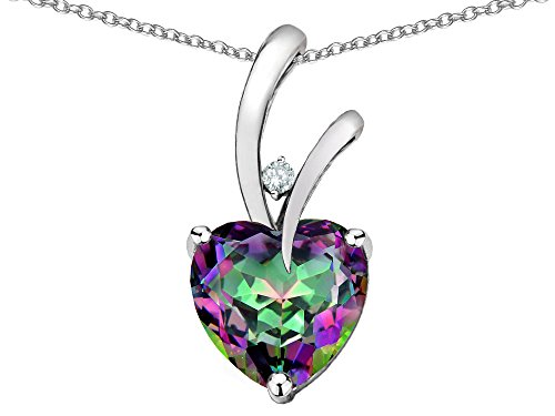Star K Heart Shape 8mm Rainbow Mystic Topaz Endless Love Pendant Necklace 10 kt White Gold
