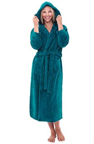Alexander Del Rossa Womens Fleece Robe, Long Hooded Bathrobe, Small Medium Ocean Depth Green (A0116ODPMD) by Alexander Del Rossa