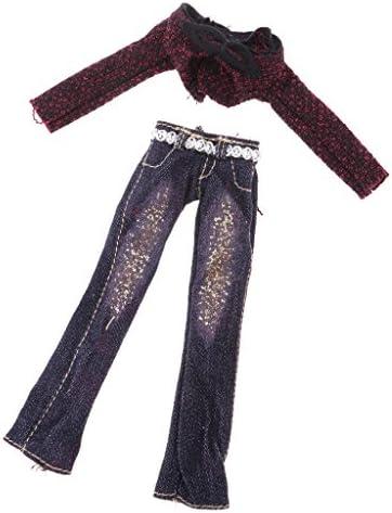 布製 バービードールのため 超ショートコート トップ フレアパンツ ズボン 人形服