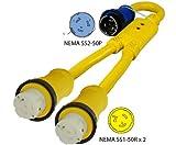 Conntek Marine Show Power 3-Feet Y Adapter 50A 125/250V Locking Plug to (2) 50A 125V Locking Female Connector