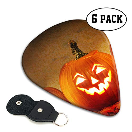 Jack O Lantern Carving Pumpkin Halloween Scary Ghost Ultra Thin 0.46 Med 0.71 Thick 0.96mm 4 Pieces Each Base Prime Celluloid Ivory Jazz Mandolin Bass Ukelele Plectrum Guitar Pick Pouch Display -