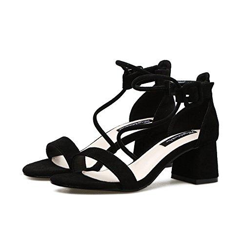 GAOLIM Zapatos De Tacón Alto Tacones Altos De Primavera Y Verano Chica Ranurado Fino Amarre Con Sandalias Casual Tira Transversal Con Solo Zapatos, (3-5Cm) Negro