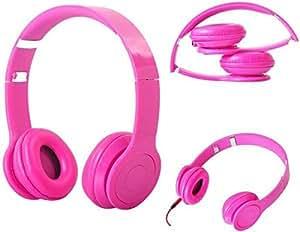 Pink Adjustable 3.5mm Over-Ear Earphone Headphone MP3 MP4 Phone PC