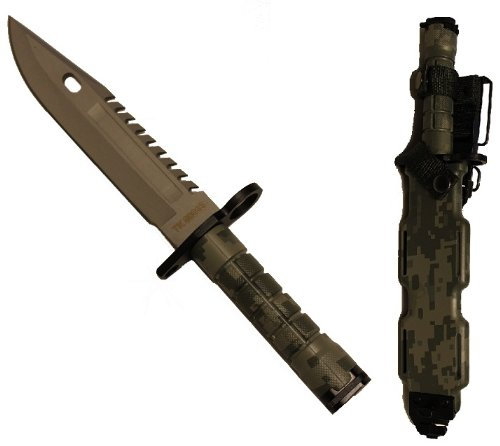 Ultimate Arms Gear Tactical Limited Edition ACU Army Digital Camo Camouflage Stainless Steel Special Forces Series M9 M-9 Military Sawback Survival Blade Bayonet Knife With Tactical Sheath (Special Tactical Digital Camo Handle)
