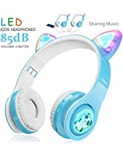 WOICE Wireless Bluetooth Kids Headphones, LED Flashing Lights, Music Sharing Function, 85db Volume Limited, Over-Ear and Build-in Mic Wireless/Wired Children Headphones for Boys Girls