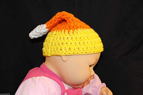 Ready to mail - Halloween Candy Corn crochet baby cap - fits most babies up to approximately 3 months old - 100% acrylic yarn - smoke free - pet free - all new materials used -
