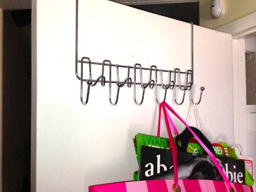 DecoBros Supreme Over The Door 11 Hook Organizer Rack, Chrome Finish