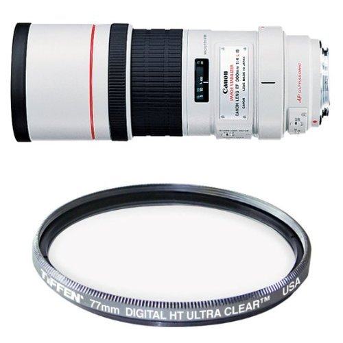 Canon EF 300mm f/4L IS USM Telephoto Fixed Lens for Canon SLR Cameras Filter Bundle