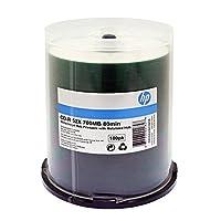 HP CD-R 52X 80 MIN WHITE INKJET PRINTABLE METALIZED HUB 100PK C/B